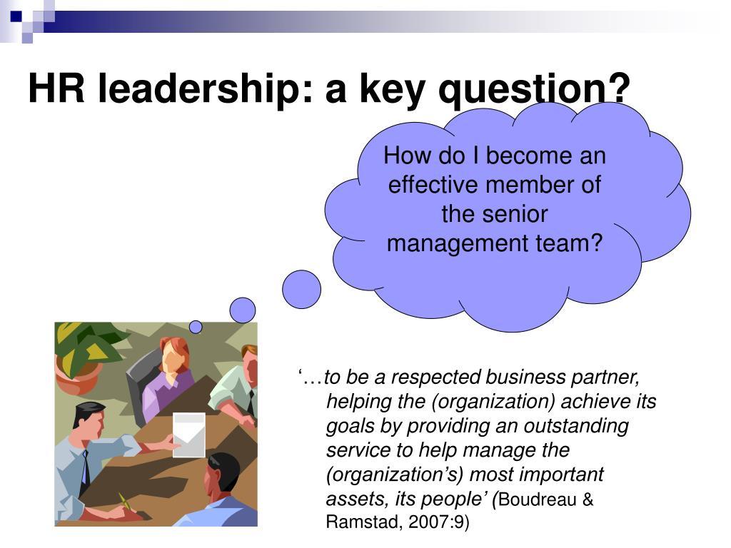 HR leadership: a key question?