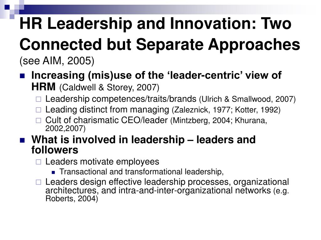 HR Leadership and Innovation: Two Connected but Separate Approaches