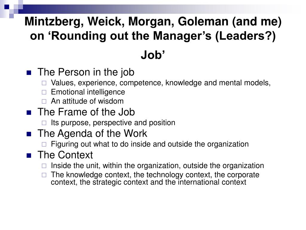 Mintzberg, Weick, Morgan, Goleman (and me) on 'Rounding out the Manager's (Leaders?)  Job'