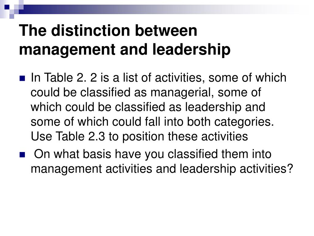 The distinction between management and leadership