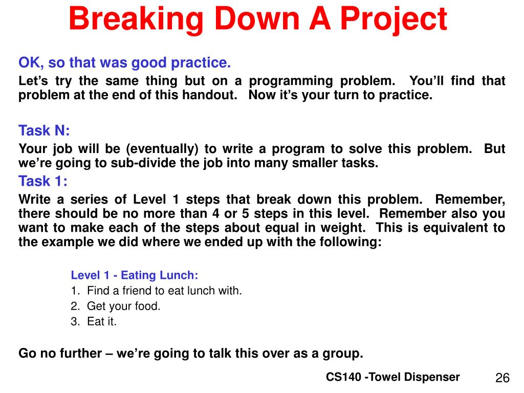 Breaking Down A Project