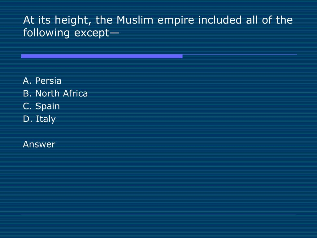 At its height, the Muslim empire included all of the following except—