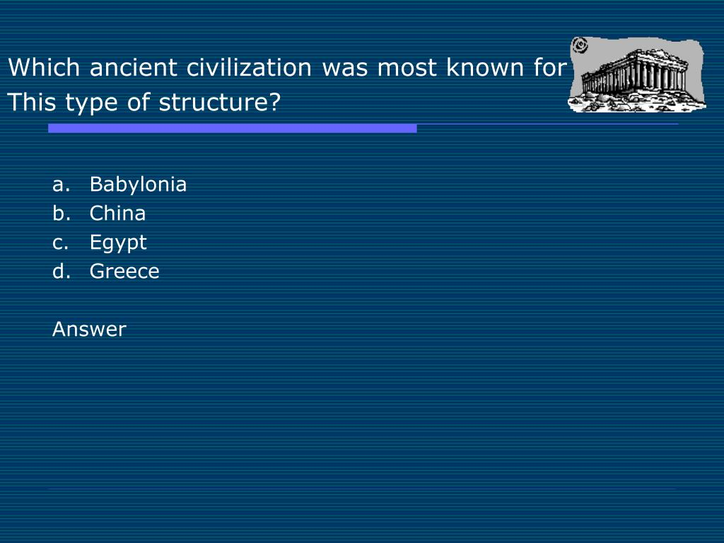 Which ancient civilization was most known for