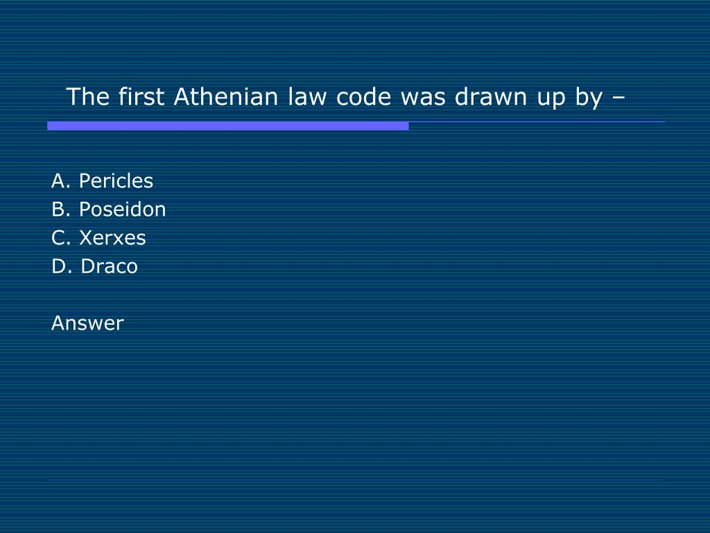 The first Athenian law code was drawn up by –