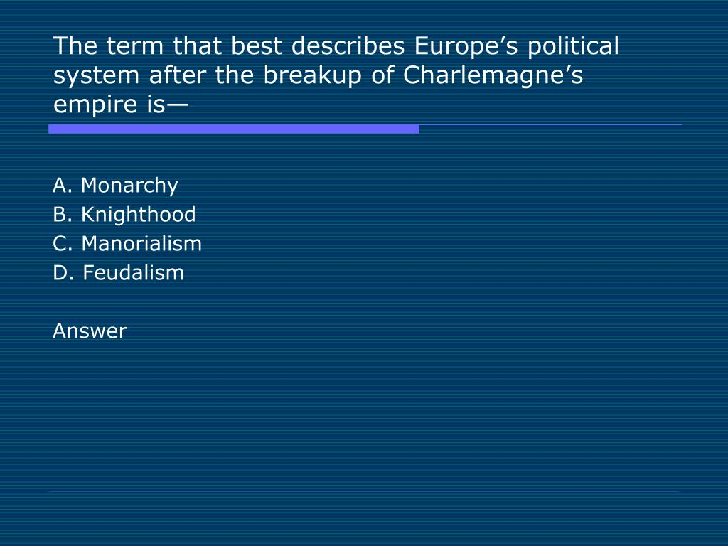 The term that best describes Europe's political system after the breakup of Charlemagne's empire is—