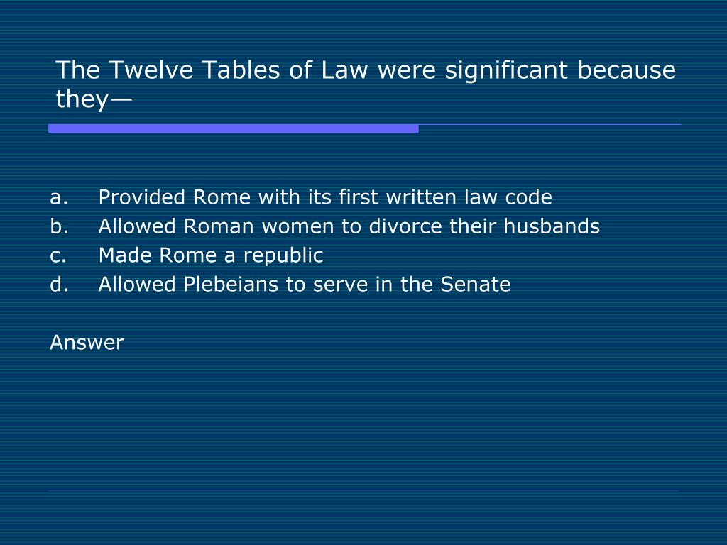 The Twelve Tables of Law were significant because they—