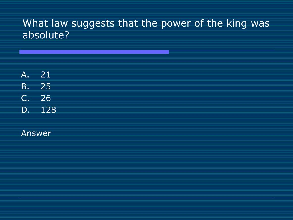 What law suggests that the power of the king was absolute?