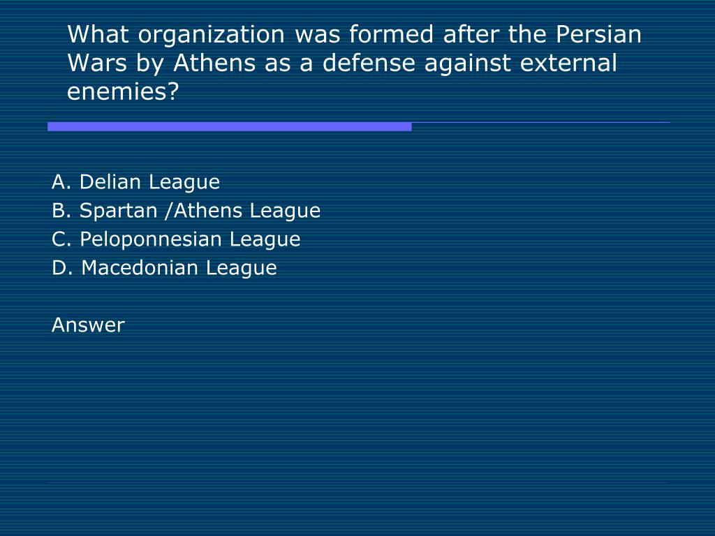 What organization was formed after the Persian Wars by Athens as a defense against external enemies?