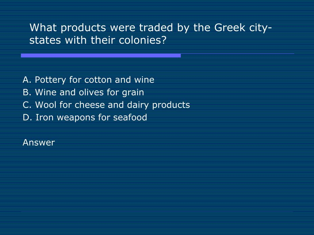 What products were traded by the Greek city-states with their colonies?