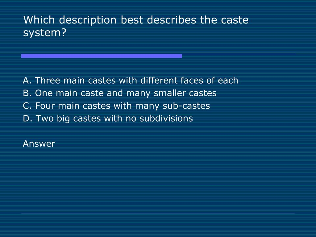 Which description best describes the caste system?