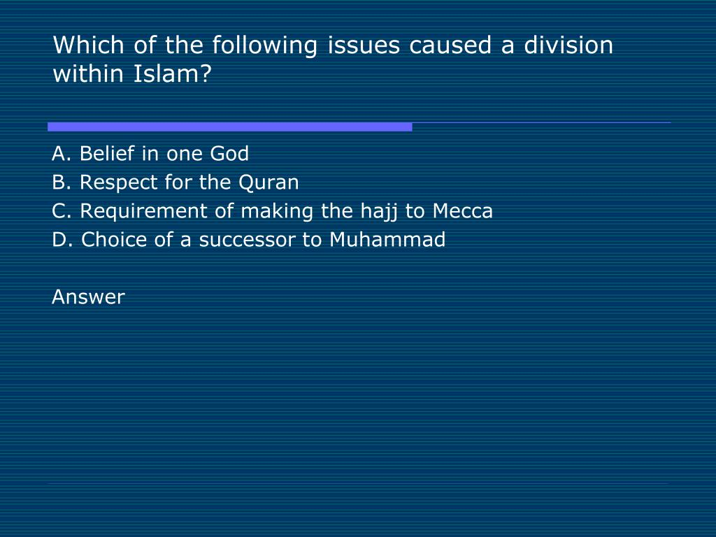 Which of the following issues caused a division within Islam?