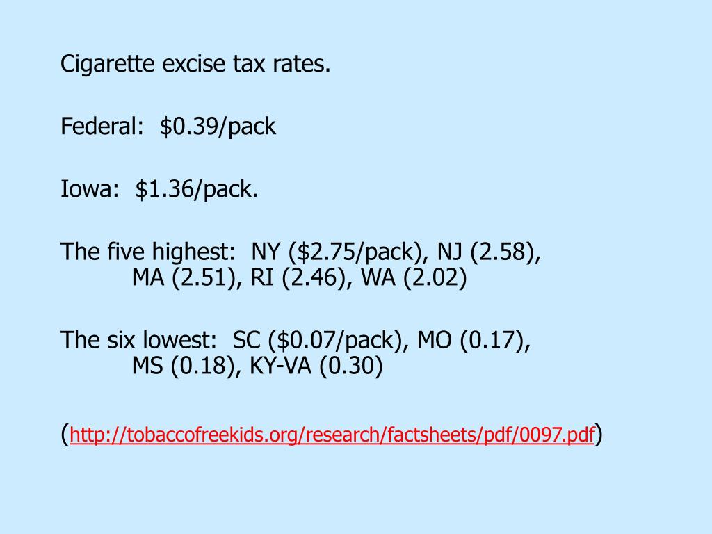 Cigarette excise tax rates.