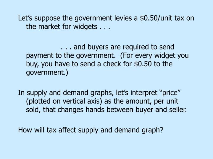 Let's suppose the government levies a $0.50/unit tax on the market for widgets . . .