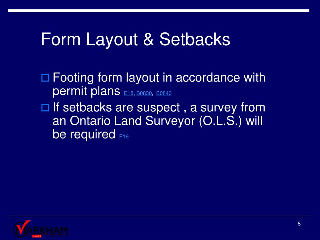 Form Layout & Setbacks