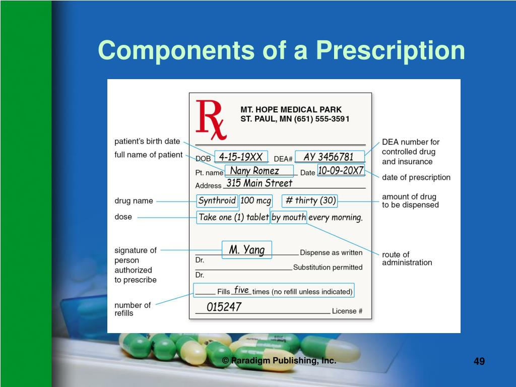 Components of a Prescription