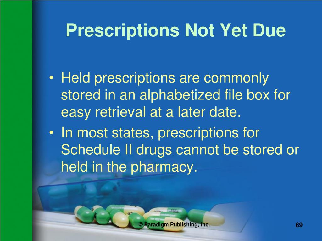 Prescriptions Not Yet Due