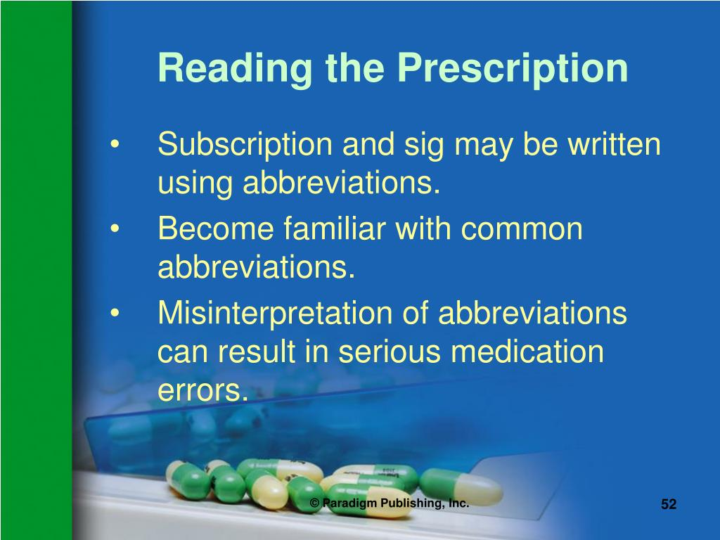Reading the Prescription