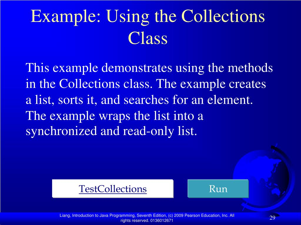 Example: Using the Collections Class