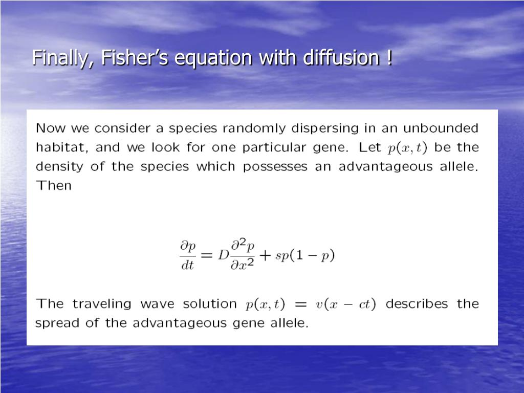 Finally, Fisher's equation with diffusion !