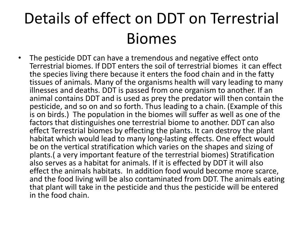 Details of effect on DDT on Terrestrial Biomes