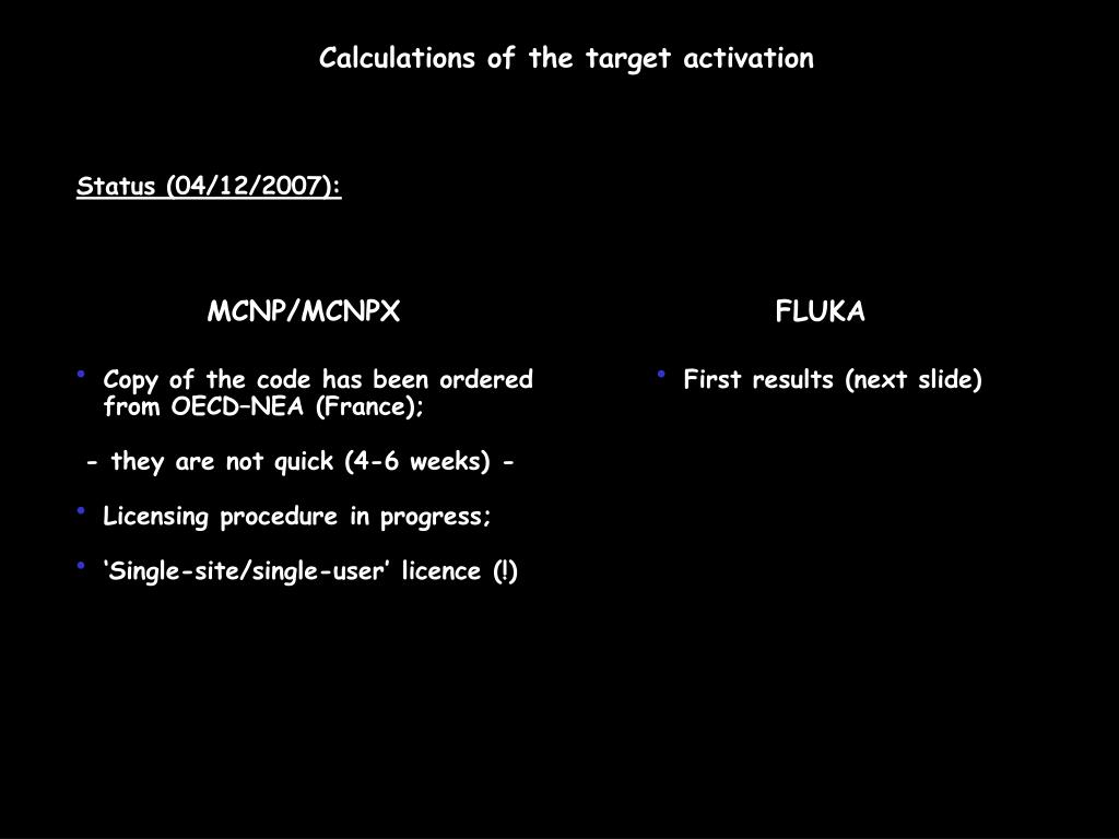 Calculations of the target activation