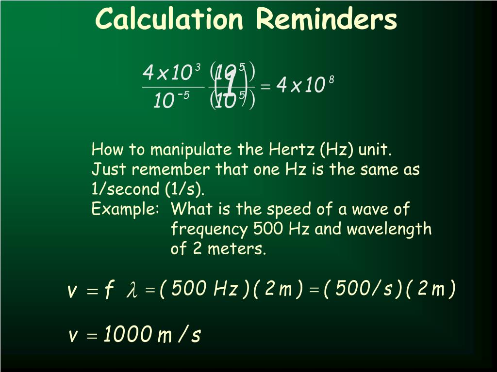 Calculation Reminders