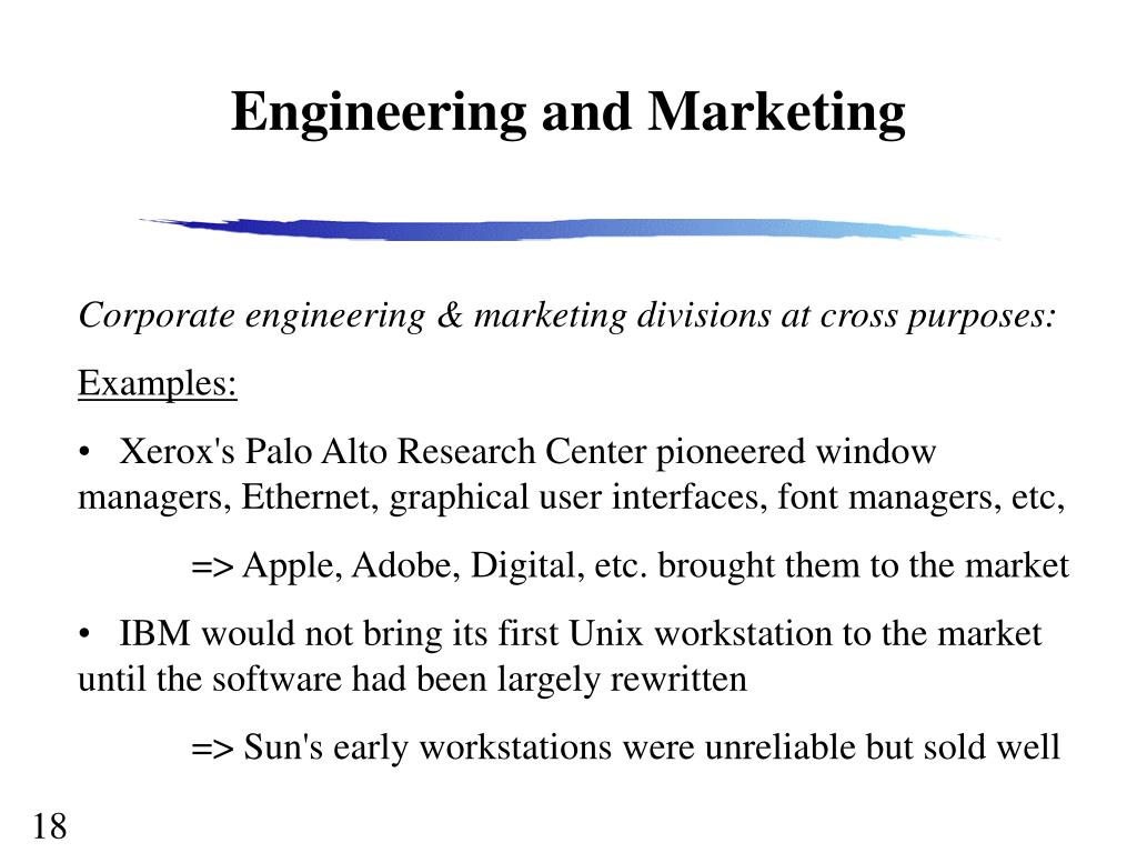 Engineering and Marketing