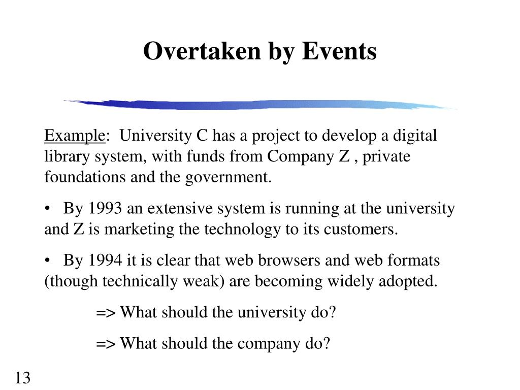 Overtaken by Events