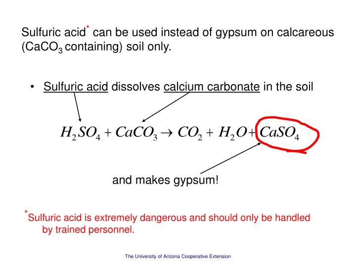 Calcium sulfuric acid lss acids and alkalis what will for Soil in sentence