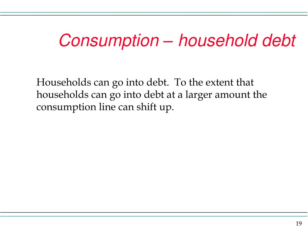 Consumption – household debt