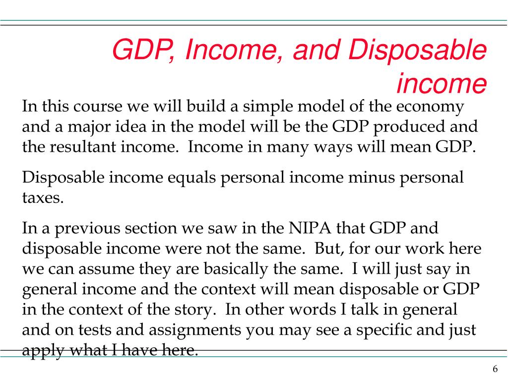 GDP, Income, and Disposable income