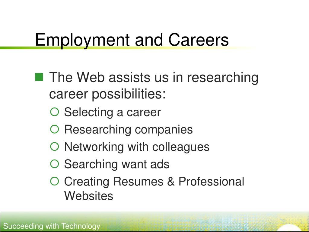Employment and Careers