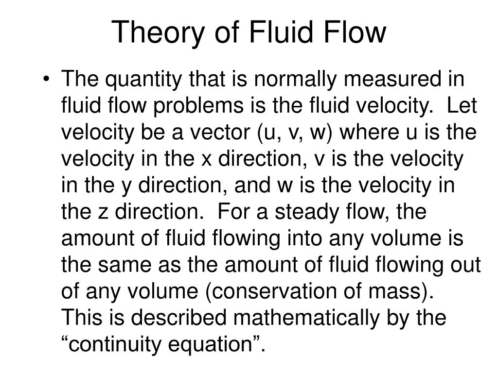 Theory of Fluid Flow