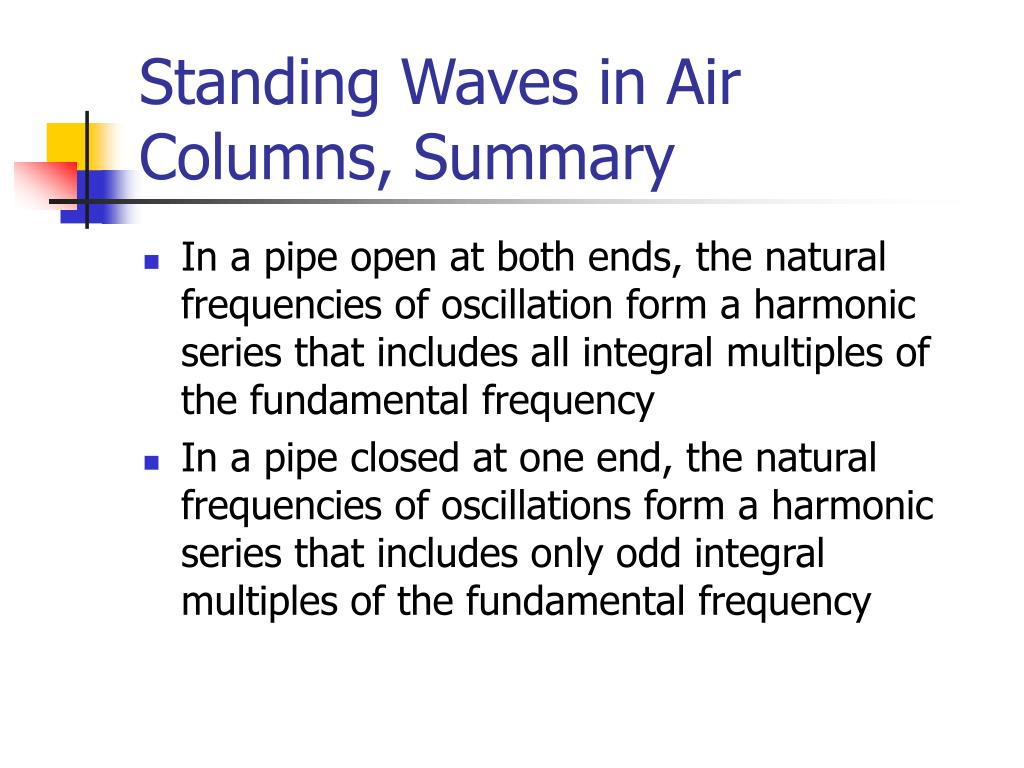 Standing Waves in Air Columns, Summary