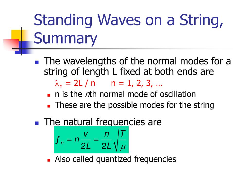Standing Waves on a String, Summary