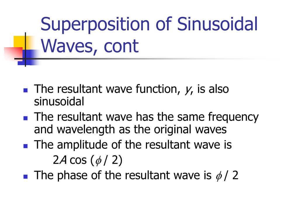 Superposition of Sinusoidal Waves, cont