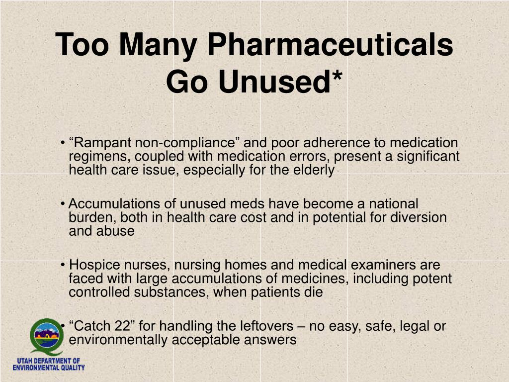 Too Many Pharmaceuticals Go Unused*