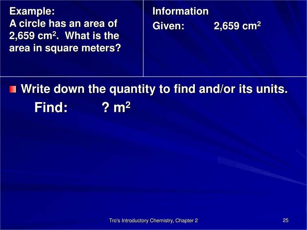 Write down the quantity to find and/or its units.