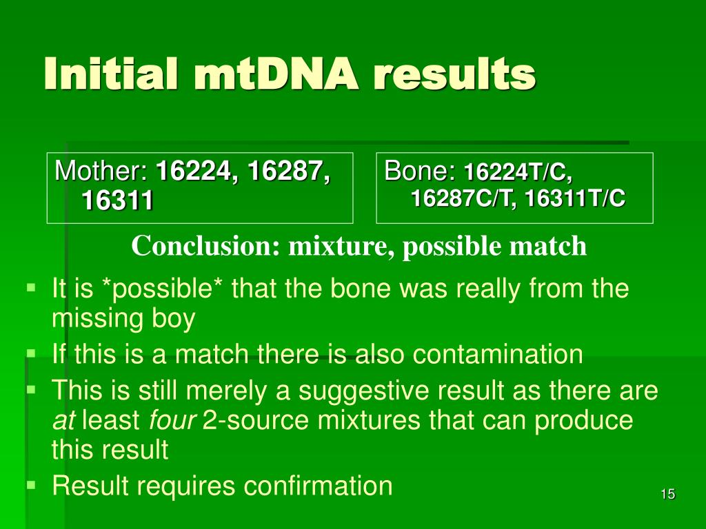 Initial mtDNA results