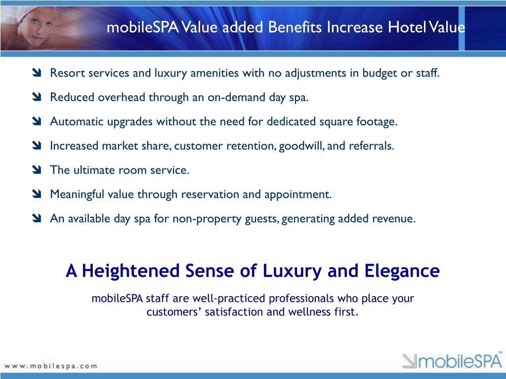 mobileSPA Value added Benefits Increase Hotel Value