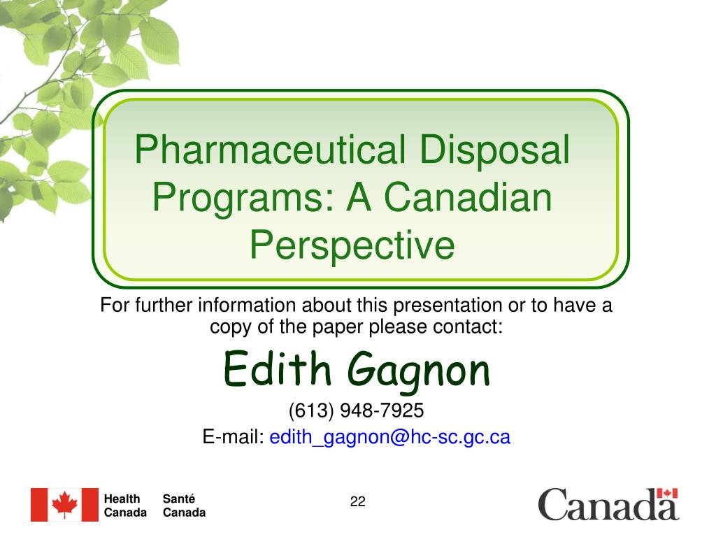 Pharmaceutical Disposal Programs: A Canadian Perspective