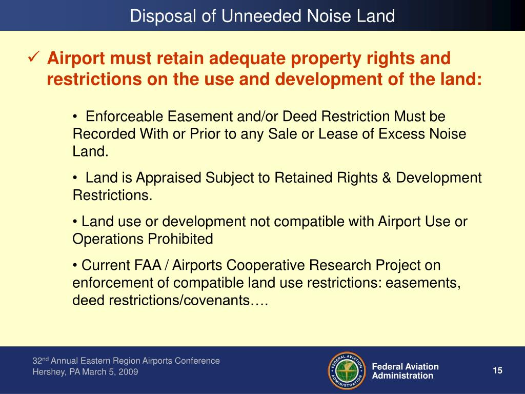 Disposal of Unneeded Noise Land