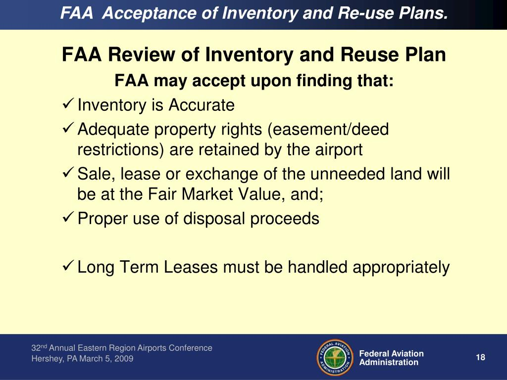 FAA  Acceptance of Inventory and Re-use Plans.