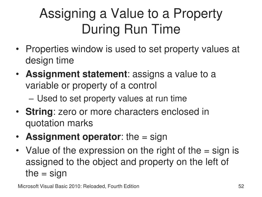 Assigning a Value to a Property