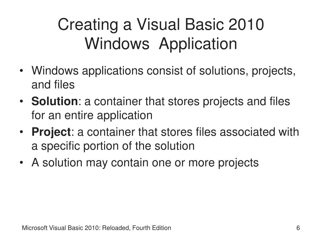 Creating a Visual Basic 2010