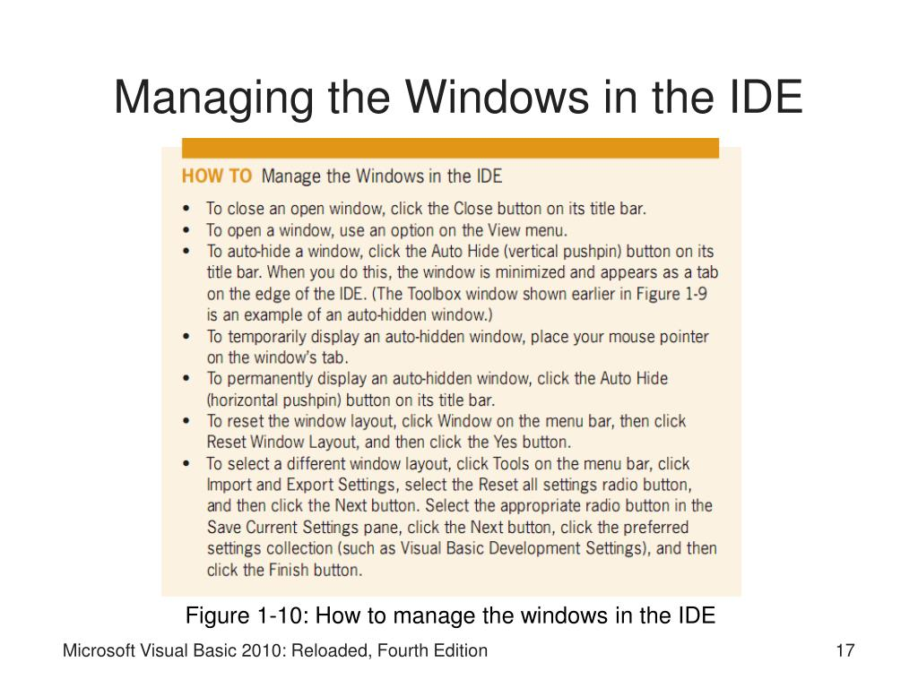 Managing the Windows in the IDE