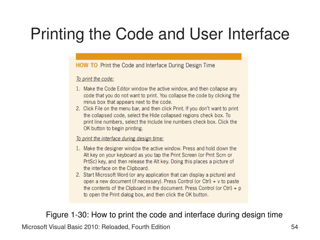Printing the Code and User Interface