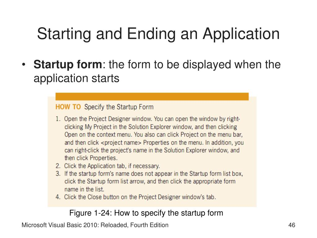 Starting and Ending an Application