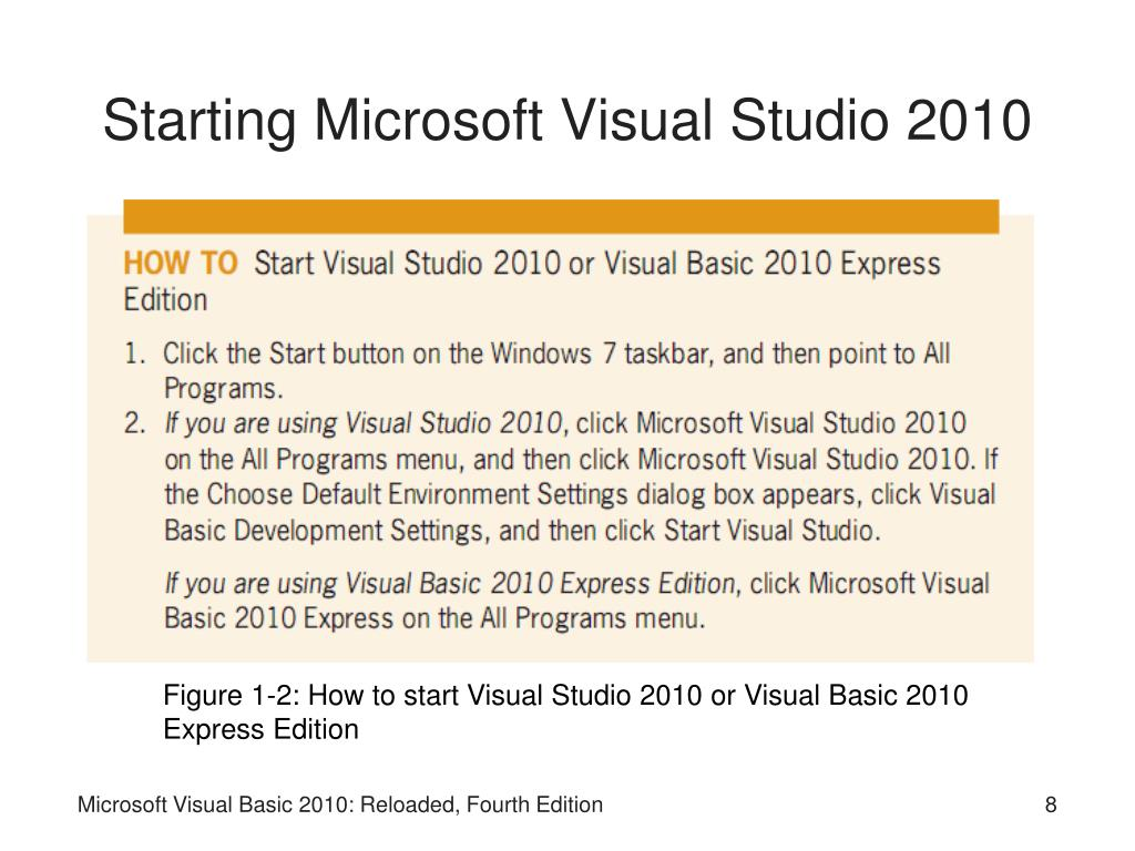 Starting Microsoft Visual Studio 2010