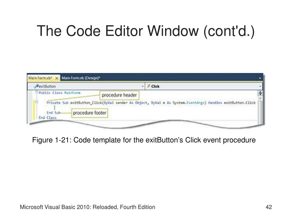 The Code Editor Window (cont'd.)